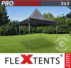 Racing tent 3x3 m Black, incl. 4 sidewalls