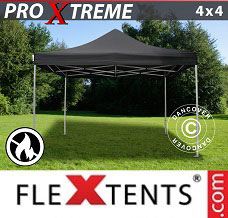 Racing tent 4x4 m Black, Flame retardant