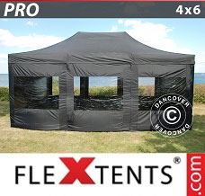 Racing tent 4x6 m Black, incl. 8 sidewalls