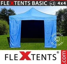 Racing tent 4x4 m Blue, incl. 4 sidewalls