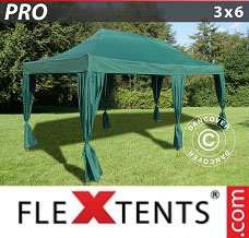 Racing tent 3x6 m Green, incl. 6 decorative curtains