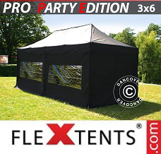 Racing tent 3x6m Black, incl. 6 sidewalls