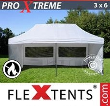 Racing tent 3x6 m White, Flame retardant, incl. 6 sidewalls
