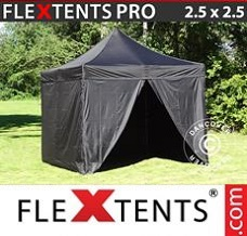 Racing tent 2.5x2.5 m Black, incl. 4 sidewalls