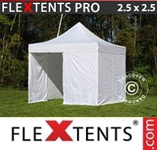 Racing tent 2.5x2.5 m White, incl. 4 sidewalls