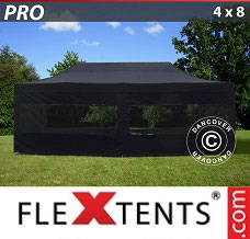 Racing tent 4x8 m Black, incl. 6 sidewalls