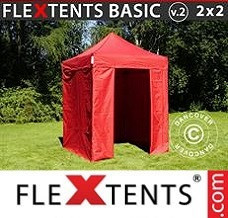 Racing tent 2x2 m Red, incl. 4 sidewalls