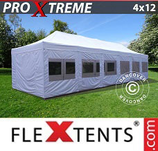 Racing tent 4x12 m White, incl. sidewalls