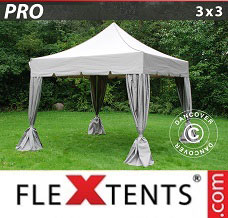 Racing tent 3x3 m Latte, incl. 4 decorative curtains