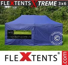 Racing tent 3x6 m Dark blue, incl. 6 sidewalls