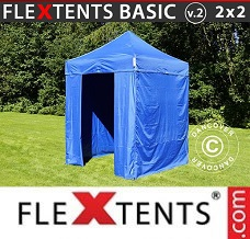 Racing tent 2x2 m Blue, incl. 4 sidewalls