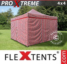 Racing tent 4x4 m Striped incl. 4 sidewalls