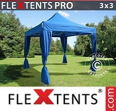 Racing tent 3x3 m Blue, incl. 4 decorative curtains