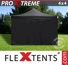 Racing tent 4x4 m Black, incl. 4 sidewalls