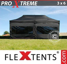 Racing tent 3x6 m Black, incl. 6 sidewalls