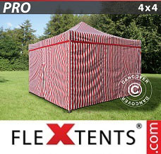 Racing tent 4x4 m Striped, incl. 4 sidewalls
