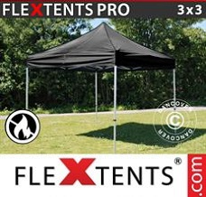 Racing tent 3x3 m Black, Flame retardant