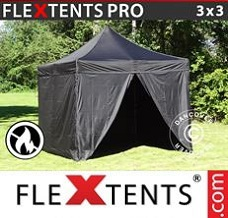 Racing tent 3x3 m Black, Flame retardant), incl. 4 sidewalls