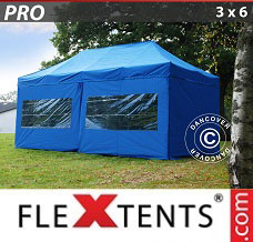 Racing tent 3x6 m Blue, incl. 6 sidewalls