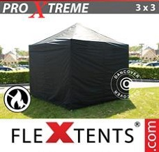 Racing tent 3x3 m Black, Flame retardant, incl. 4 sidewalls