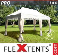 Racing tent 3x6 m White, incl. 6 decorative curtains
