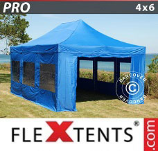 Racing tent 4x6 m Blue, incl. 8 sidewalls