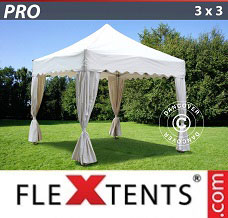 Racing tent 3x3 m White, inkl. 4 decorative curtains