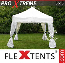 Racing tent 3x3 m White, incl. 4 decorative curtains