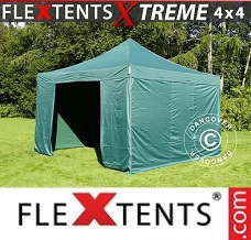 Racing tent 4x4 m Green, incl. 4 sidewalls