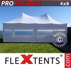 Racing tent 4x8 m White, incl. 6 sidewalls