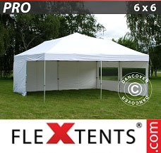 Racing tent 6x6 m White, incl. 8 sidewalls