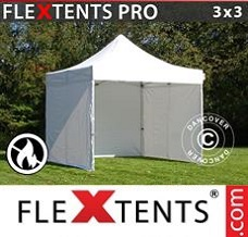 Racing tent 3x3 m White, Flame retardant, incl. 4 sidewalls