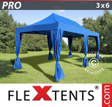 Racing tent 3x6 m Blue, incl. 6 decorative curtains