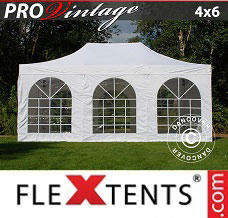Racing tent 4x6 m White, incl. 8 sidewalls