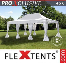 Racing tent 4x6 m White, incl. 8 decorative curtains