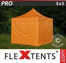 Racing tent 3x3 m Orange, incl. 4 sidewalls