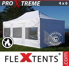 Racing tent 4x6 m White, Flame retardant, incl. 4 sidewalls