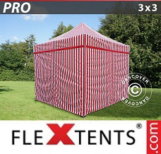 Racing tent 3x3 m striped, incl. 4 sidewalls