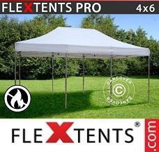Racing tent 4x6 m White, Flame retardant