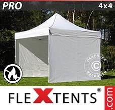 Racing tent 4x4 m White, Flame retardant, incl. 4 sidewalls