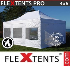 Racing tent 4x6 m White, Flame retardant, incl. 8 sidewalls