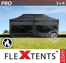 Racing tent 3x6 m Black, Flame retardant, incl. 6 sidewalls