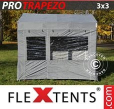 Racing tent 3x3 m Grey, incl. 4 sidewalls
