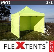 Racing tent 3x3 m Neon yellow/green, incl. 4 sidewalls