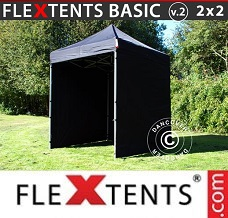 Racing tent 2x2 m Black, incl. 4 sidewalls