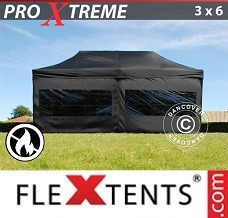 Racing tent 3x6 m Black, Flame retardant incl. 6 sidewalls
