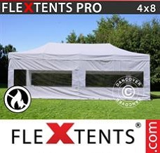 Racing tent 4x8 m White, Flame retardant, incl. 4 sidewalls