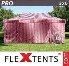 Racing tent 3x6 m Striped, incl. 6 sidewalls