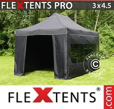 Racing tent 3x4.5 m Black, incl. 4 sidewalls