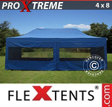 Racing tent 4x8 m Blue, incl. 6 sidewalls